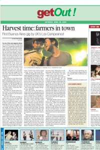 Harvest time: farmers in town
